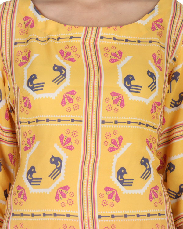 Kurta with patiala in yellow and red 3