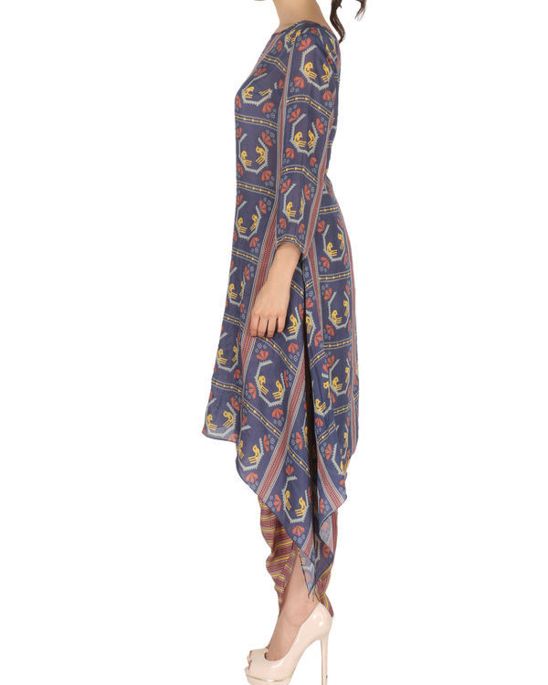 Kurta with patiala in blue and brown 1