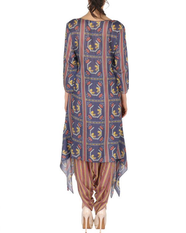 Kurta with patiala in blue and brown 2