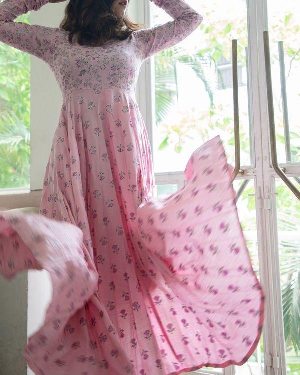 Pastel pink foil floral dress 2
