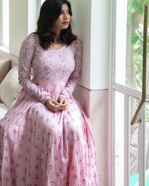 Pastel pink foil floral dress 3