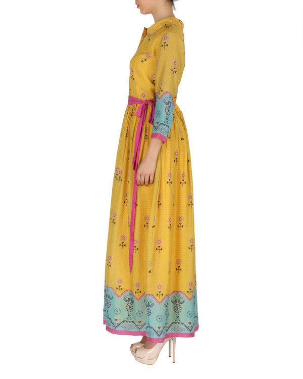 Quirky long dress in yellow and blue 1