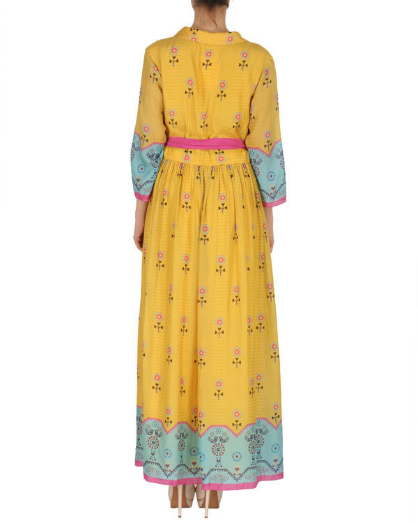 Quirky long dress in yellow and blue 2