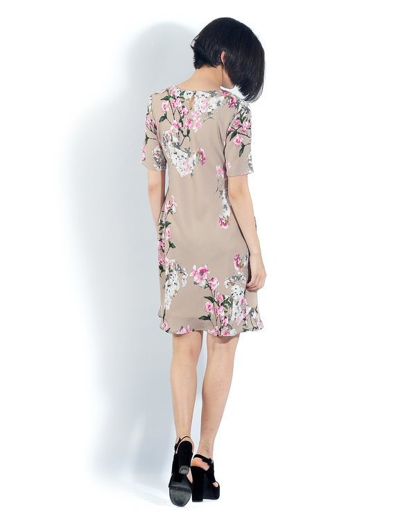 Beige floral pleated bias dress 2