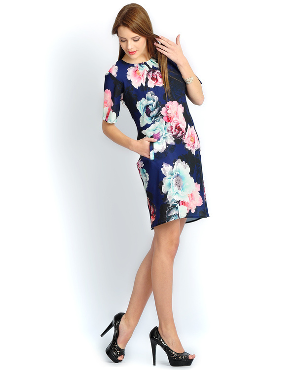Navy floral pleated bias dress 1