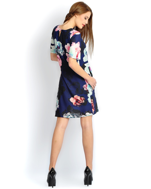 Navy floral pleated bias dress 2