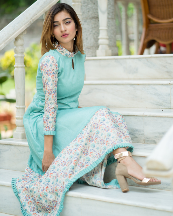 Aqua blue asymmetrical dress 1