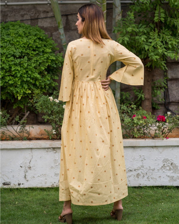 Yellow Bell Sleeves dress with motif 1