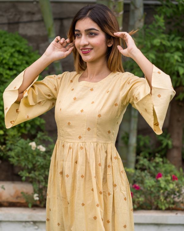 Yellow Bell Sleeves dress with motif 3