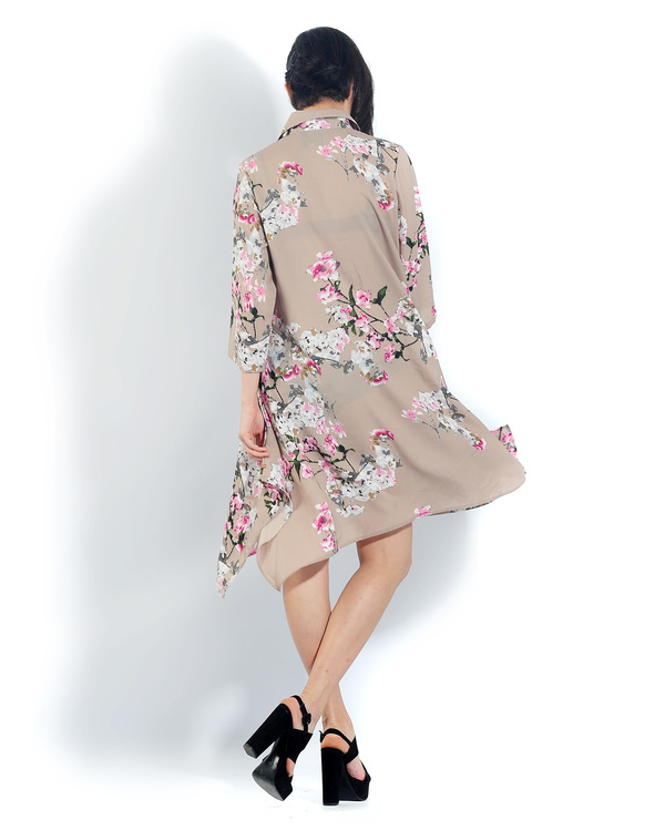 Beige floral long a line shirt 2