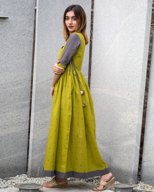 Green grey angrakha dress 1