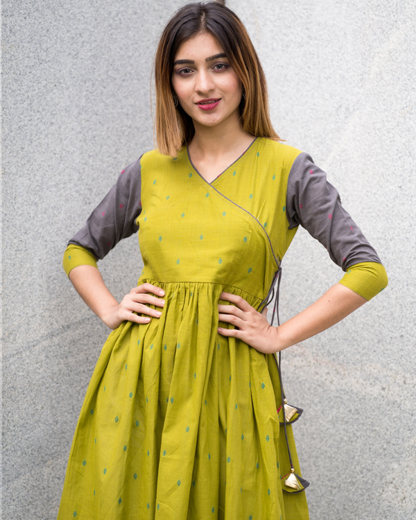 Green grey angrakha dress 2