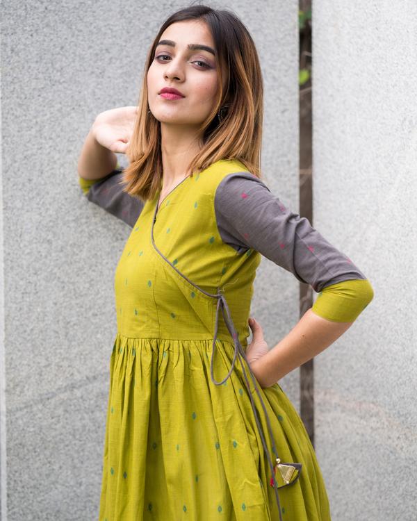 Green grey angrakha dress 3