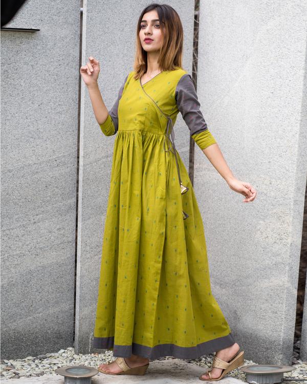 Green grey angrakha dress 4
