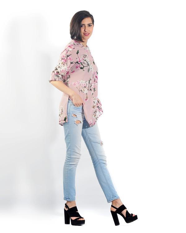Pink floral button down shirt 1