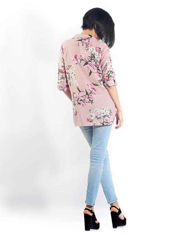 Pink floral button down shirt 2
