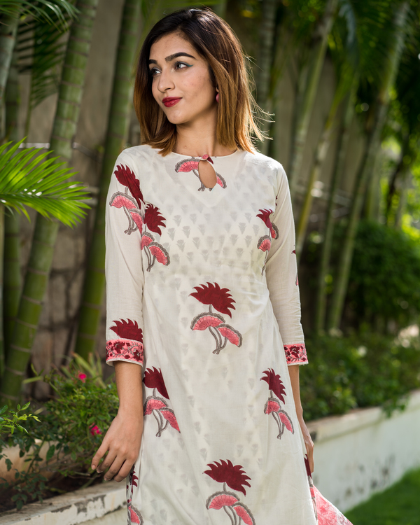 Block printed lotus kurta with printed kota dupatta - Set of Two 2