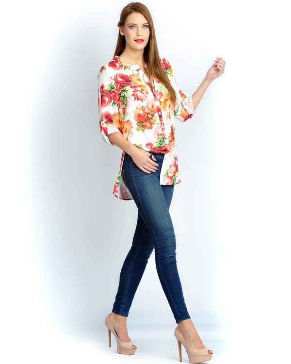 Ivory floral button down shirt 1