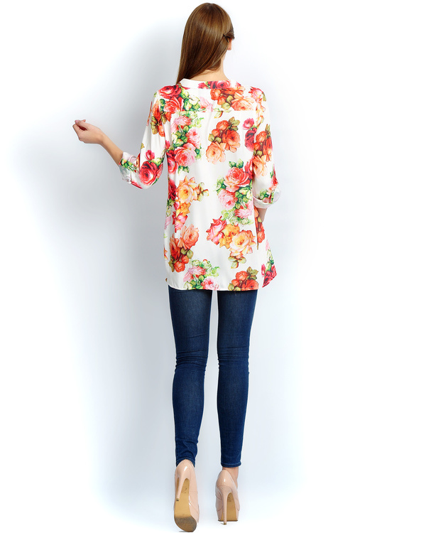 Ivory floral button down shirt 2