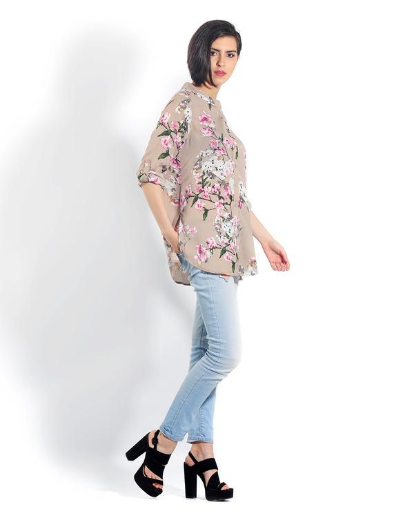 Beige floral button down shirt 1