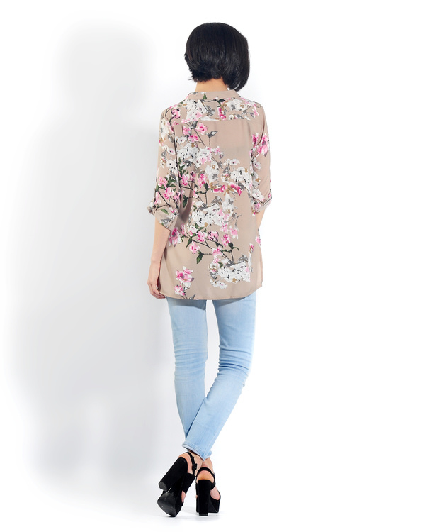 Beige floral button down shirt 2