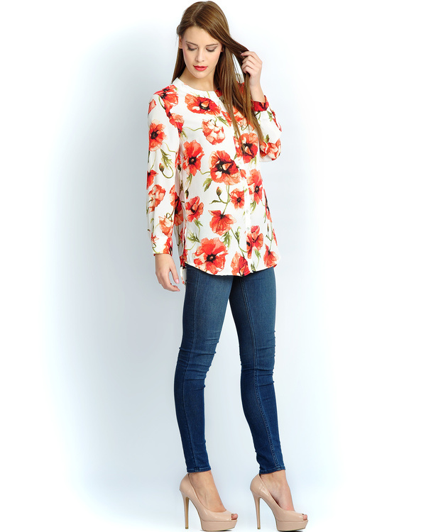 Ivory red button down shirt 1