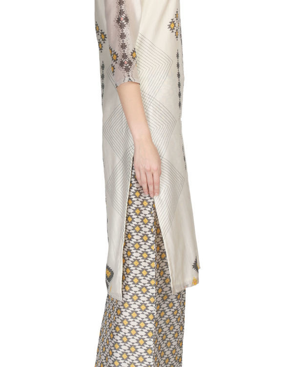 Printed kurta and palazzo set in beige color 1