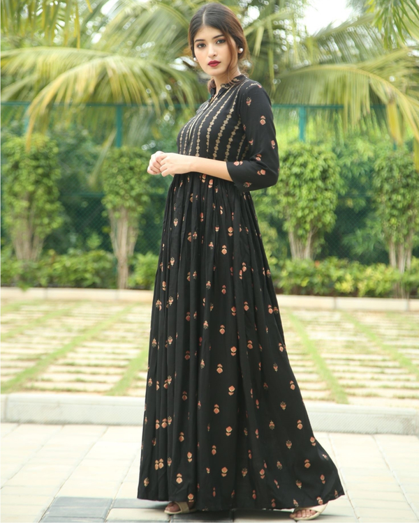 Onyx block printed flared dress 2