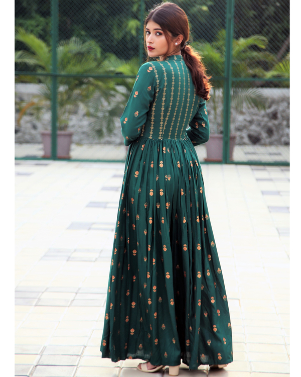 Emerald block printed flared dress 3