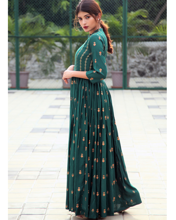 Emerald block printed flared dress 2