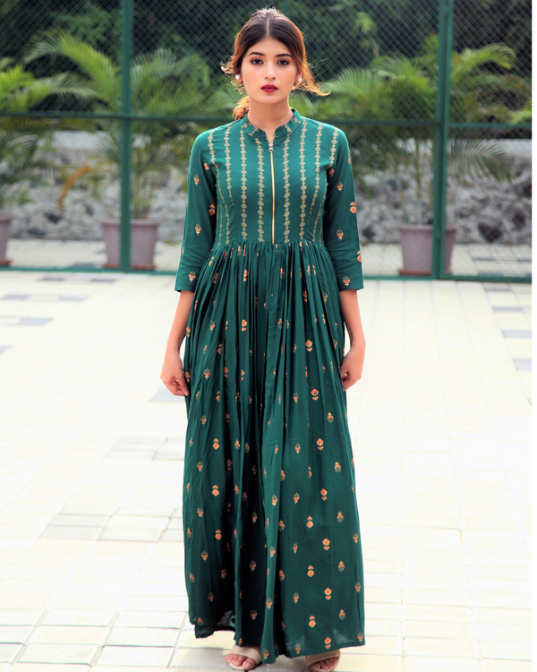 Emerald block printed flared dress 1