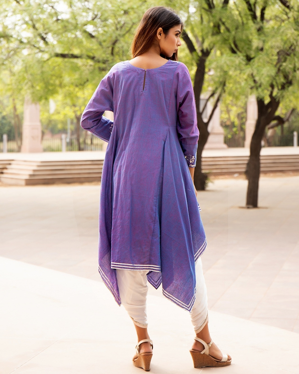 Lavender embroidered tunic with tulip pants - set of two 1