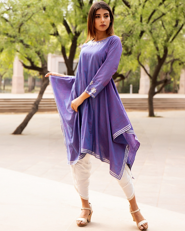Lavender embroidered tunic with tulip pants - set of two 2