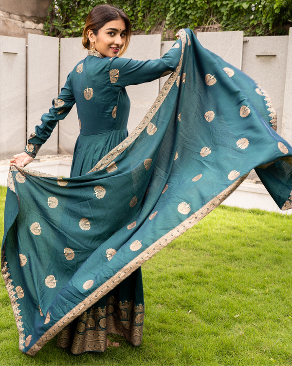 Teal and Gold Flared Anarkali with Dupatta - Set of Two 3