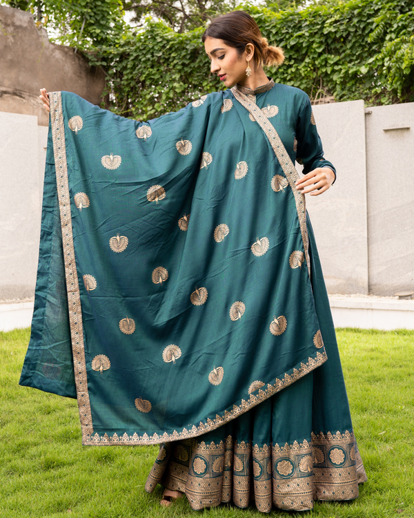 Teal and Gold Flared Anarkali with Dupatta - Set of Two 1