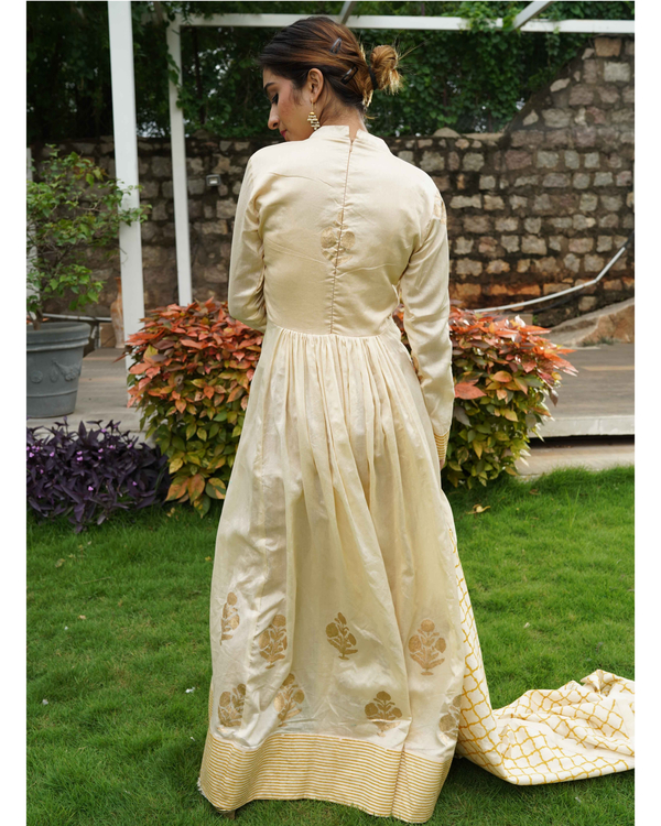 Cream and Gold Flared Anarkali with Dupatta - Set of Two 1