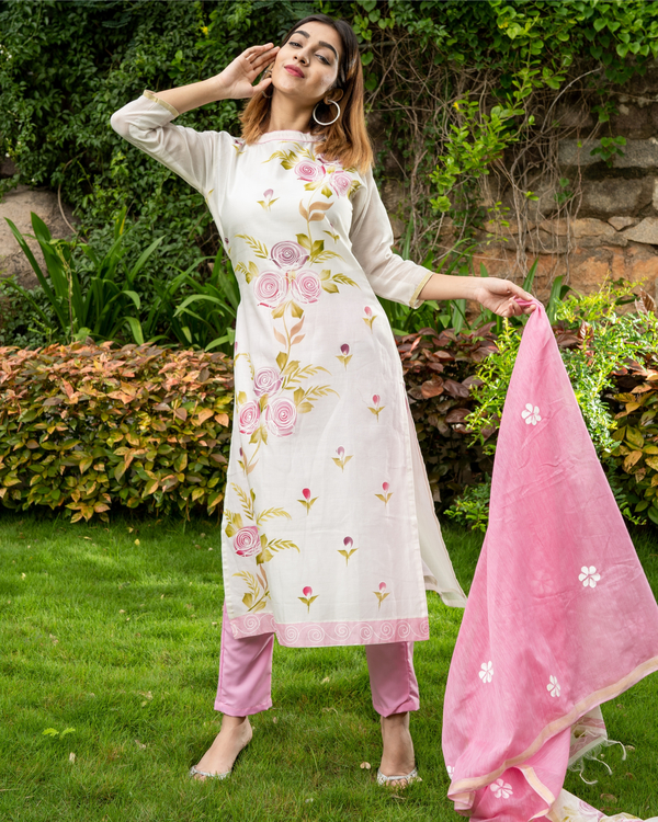 Pink Hand Painted Kurta with Chanderi Dupatta - Set of Two 1