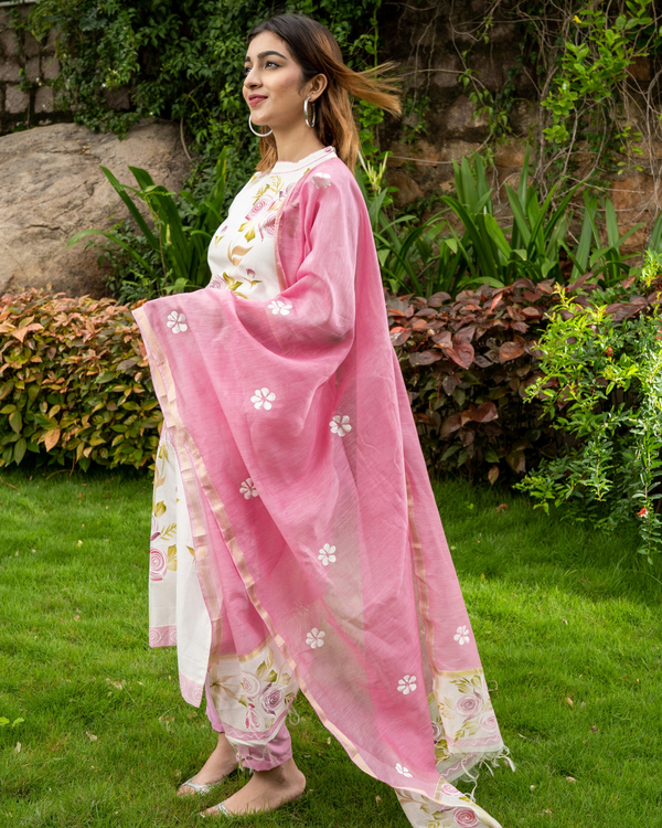 Pink Hand Painted Kurta with Chanderi Dupatta - Set of Two 2