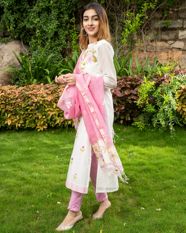 Pink Hand Painted Kurta with Chanderi Dupatta - Set of Two 3