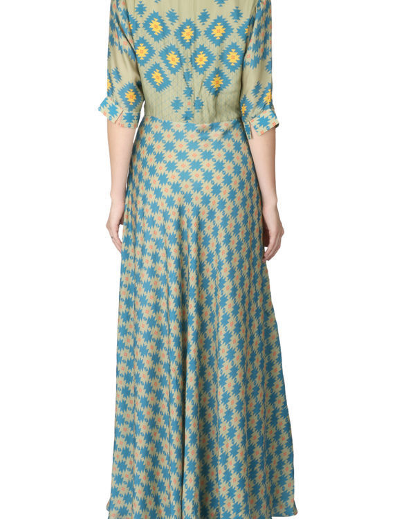 Long olive green printed dress 2