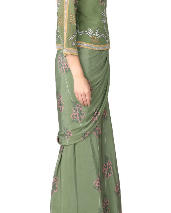 Olive green saree and jacket set 1