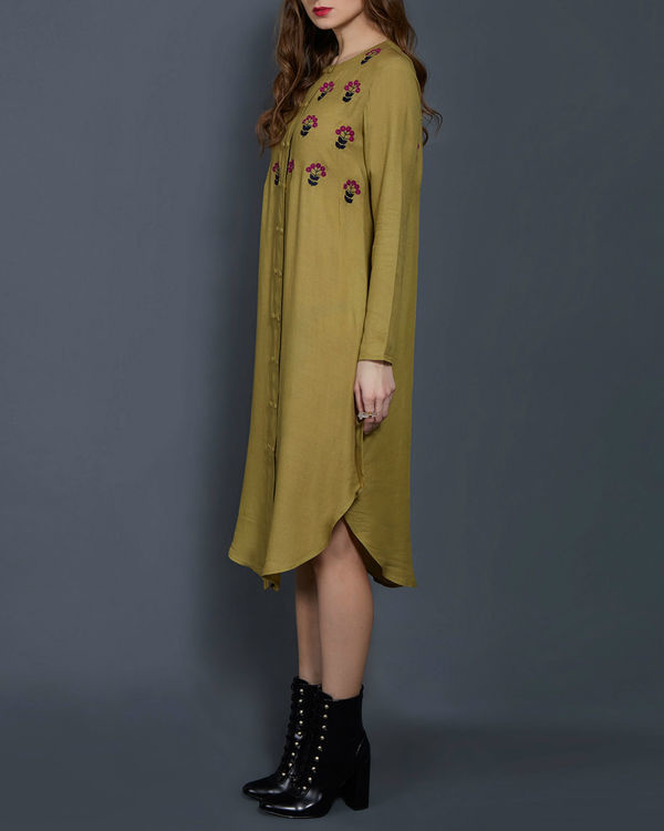 Olive green embroidered tunic 1