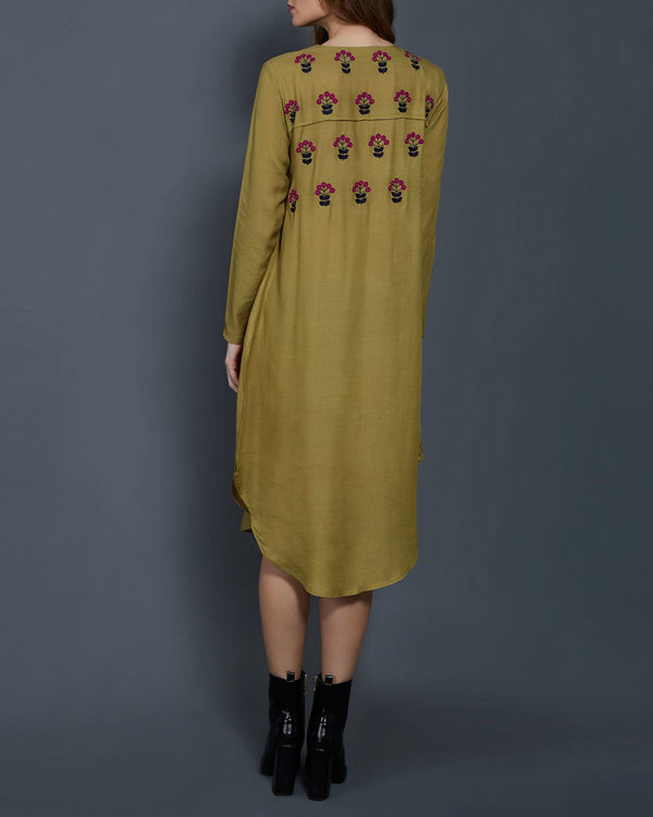 Olive green embroidered tunic 2