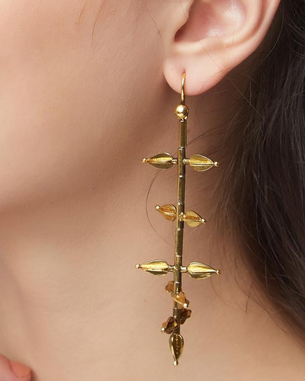Jasmine bud-shaped gold plated  earrings 1