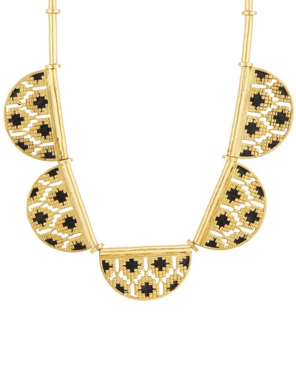 Black and gold half disc ikat  necklace 1