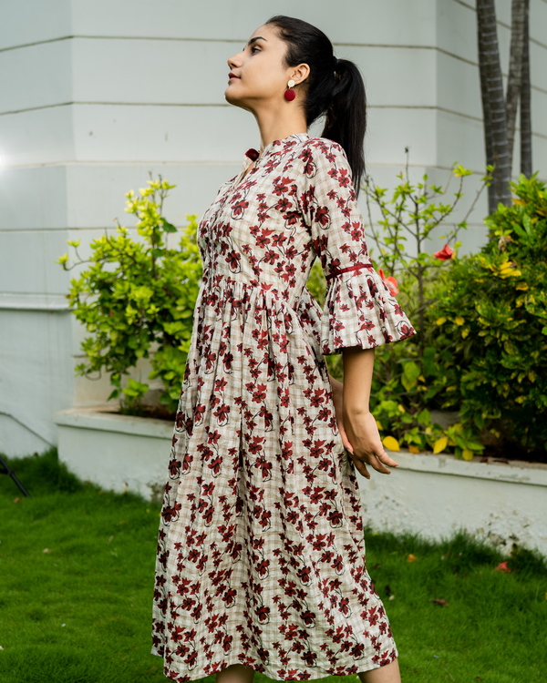 Off white cotton printed dress with bell sleeves 1