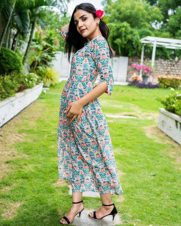 Floral printed cotton schiffli work dress 1