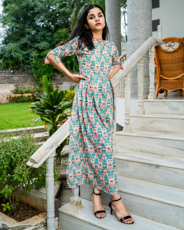 Floral printed cotton schiffli work dress 2