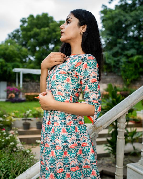 Floral printed cotton schiffli work dress 3