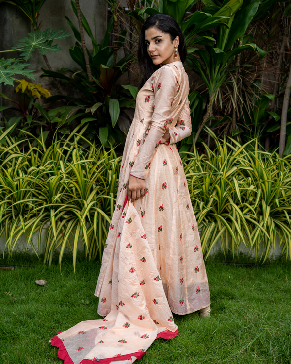 Peach embroidered cotton anarkali with dupatta - set of two 1